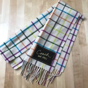 Coach Cashmere/Wool Scarf Plaid Colorful